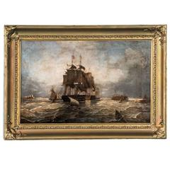 Antique English 19th Century Oil Painting of War Ships at Sea Signed J. Gouch
