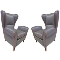 Pair of 1960s Italian Wing Chair Paolo Buffa Style, Mid-Century Modern