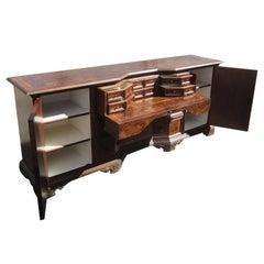 Vintage Solid Wood Italian Desk Secretary Credenza