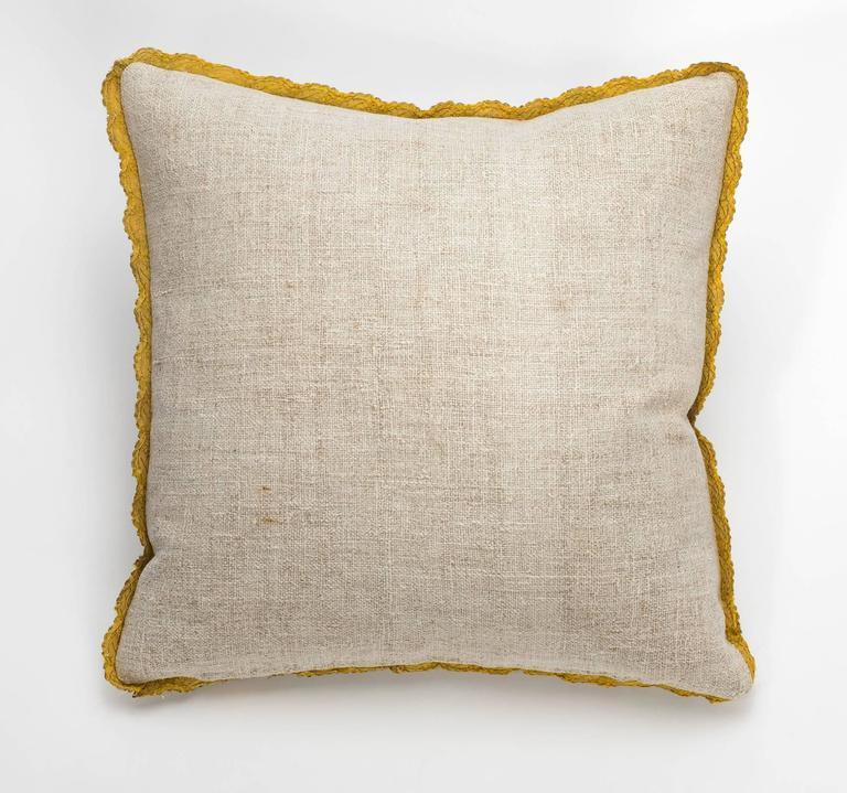 Antique Metallic Gold Appliqué on Linen Pillow 2