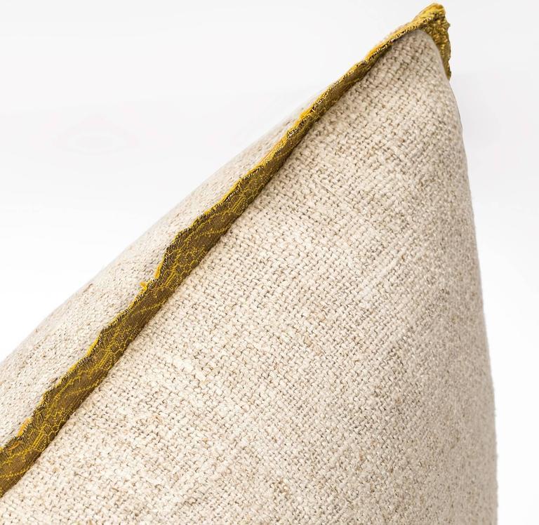 Antique Metallic Gold Appliqué on Linen Pillow 5