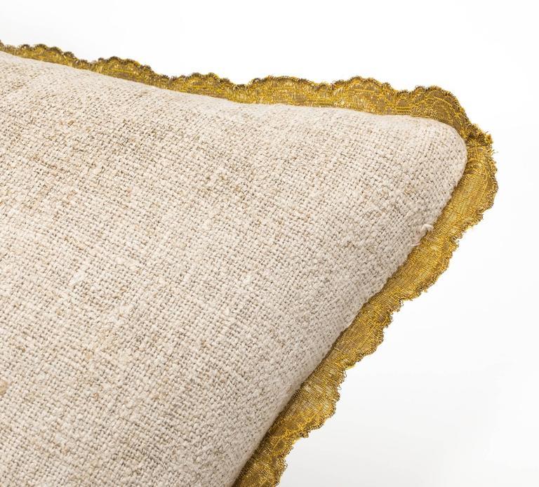 Antique Metallic Gold Appliqué on Linen Pillow 7