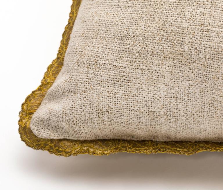Antique Metallic Gold Appliqué on Linen Pillow 3