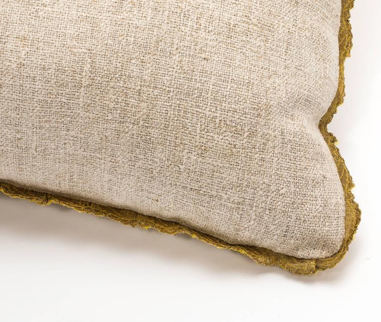 Antique Metallic Gold Appliqué on Linen Pillow 4
