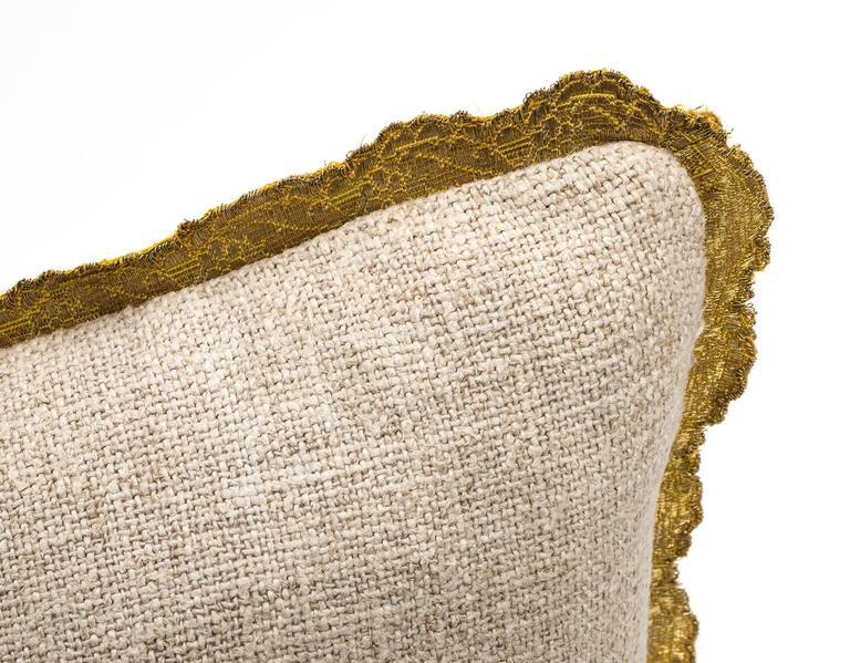 Antique Metallic Gold Appliqué on Linen Pillow 6