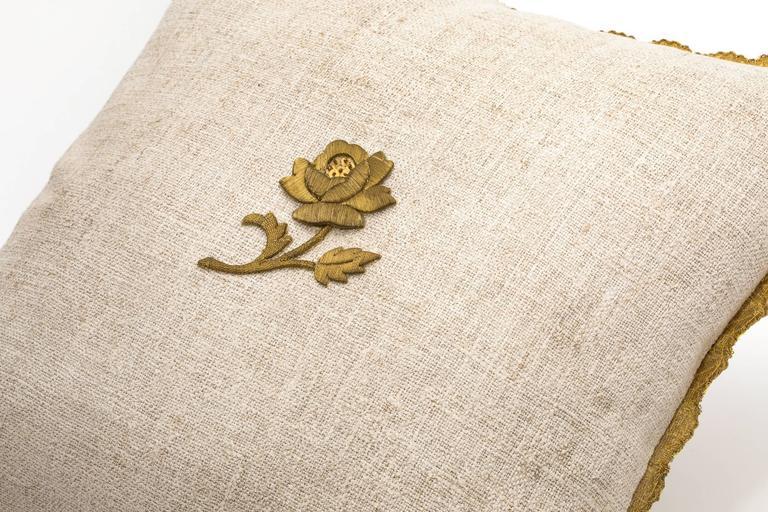 Antique Metallic Gold Appliqué on Linen Pillow 8