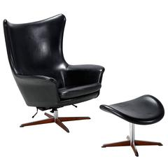 Danish Modern H.W. Klein Leather Recliner with Ottoman, circa 1960's