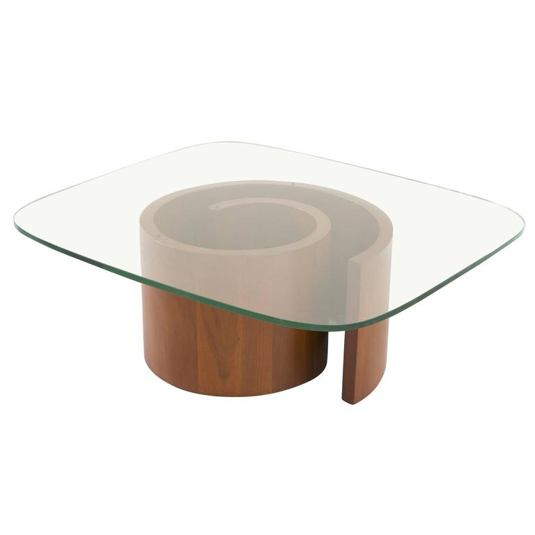 Vladimir Kagan Walnut Snail Coffee Table For Selig Circa