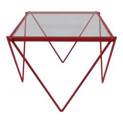 Red Enamel Side or End Table in the Style of Paolo Piva