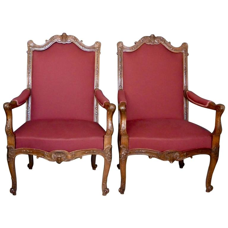 Pair of Louis XV–style armchairs, late 19th century
