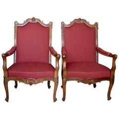 Pair of Large Louis XV Style Armchairs Stamped A. Chevrie, Paris