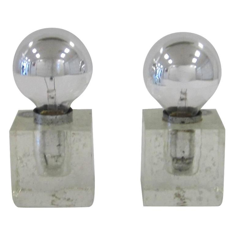 Pair of Modern Italian Poliarte Ice Cube Clear Glass Table Lamps