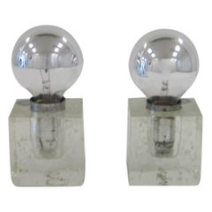 Pair Italian Postmodern Poliarte Ice Cube Clear Art Glass Table Lamps, ca. 1970s