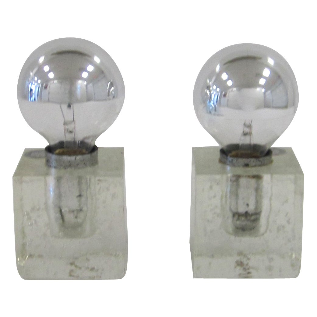 Pair Italian Postmodern Poliarte Ice Cube Clear Art Glass Table Lamps, ca. 1970s