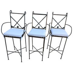 Set Of 3 Metal Golf-Themed Bar Stools With White Pillows