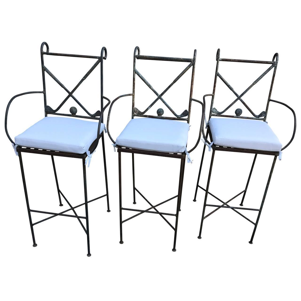 Set Of Three Golf Themed Bar Stools For Sale At 1stdibs