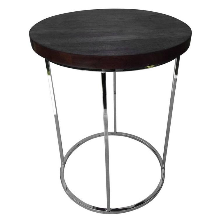 Milo Baughman Round Walnut and Chrome Table