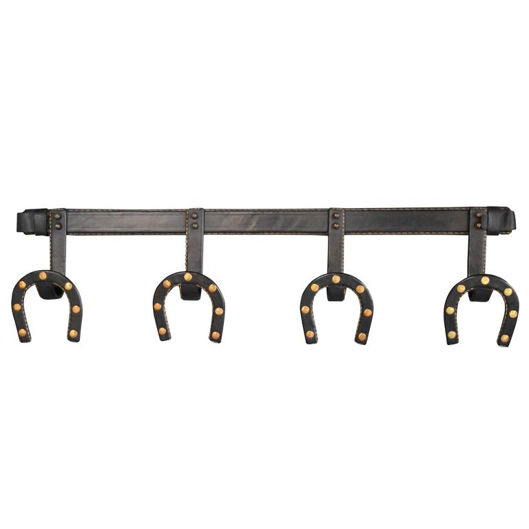 Jacques Adnet Leather Horseshoe Coat Rack