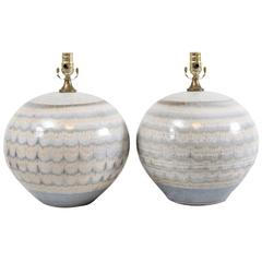 Pair of Drip Glaze Ceramic Table Lamps