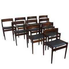 10 Grete Jalk for P. Jeppesens Mid-century Danish Rosewood Danish Dining Chairs