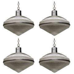Set of Four Holophane Ceiling Fixtures, American, circa 1950 (25 AVAILABLE)