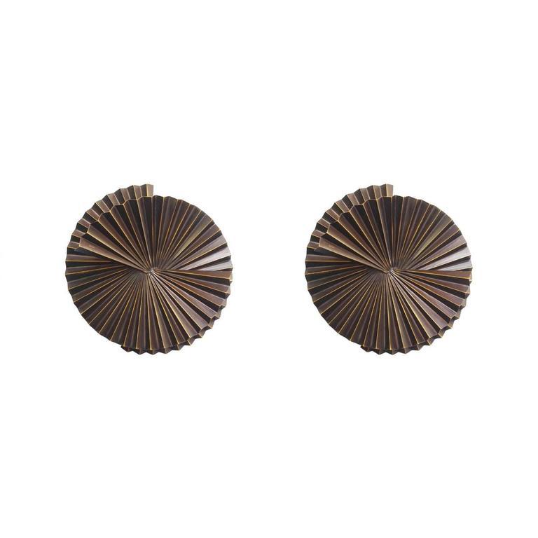 Pair of Small Dark Bronze Metal Sconces by Fabio Ltd