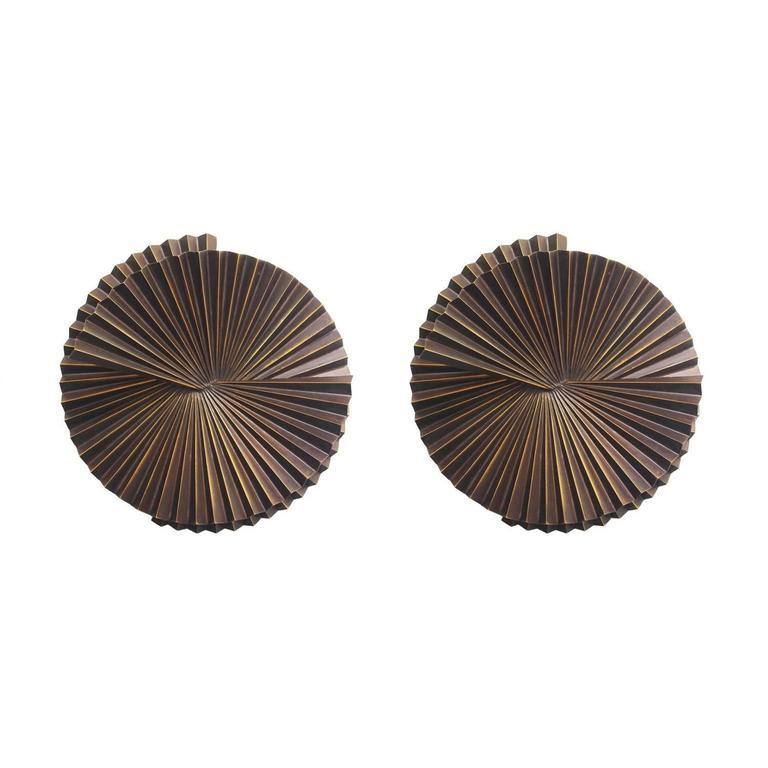 Pair of Medium Dark Bronze Metal Sconces by Fabio Ltd