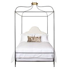 Iron Venetian Canopy Bed with Headboard Upholstered in Belgian Linen Queen Size