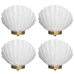 Fifteen Oversized Murano Shell Sconces by Barovier e Toso