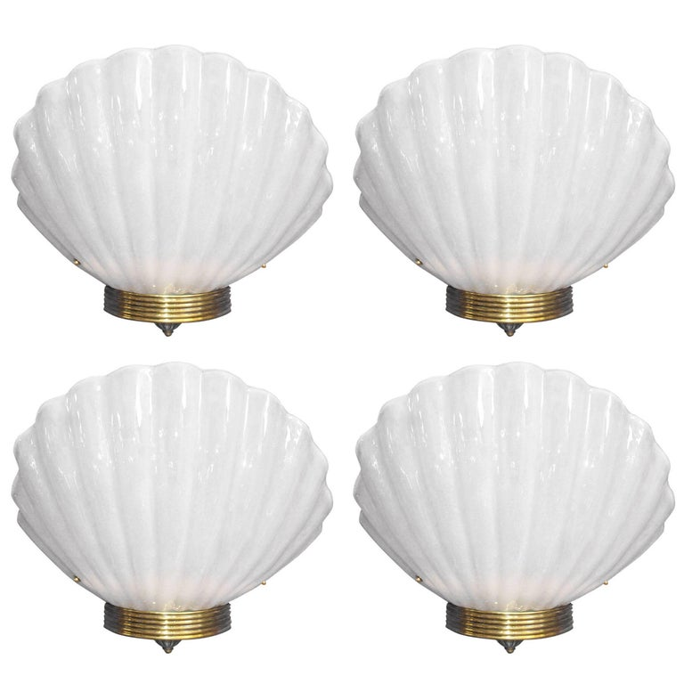 Fifteen Oversized Murano Shell Sconces by Barovier e Toso For Sale