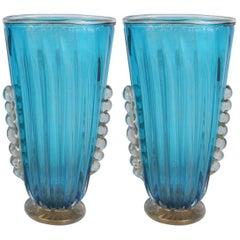 Pair of Aquamarine Vases with Gold Flecks by Alberto Dona'