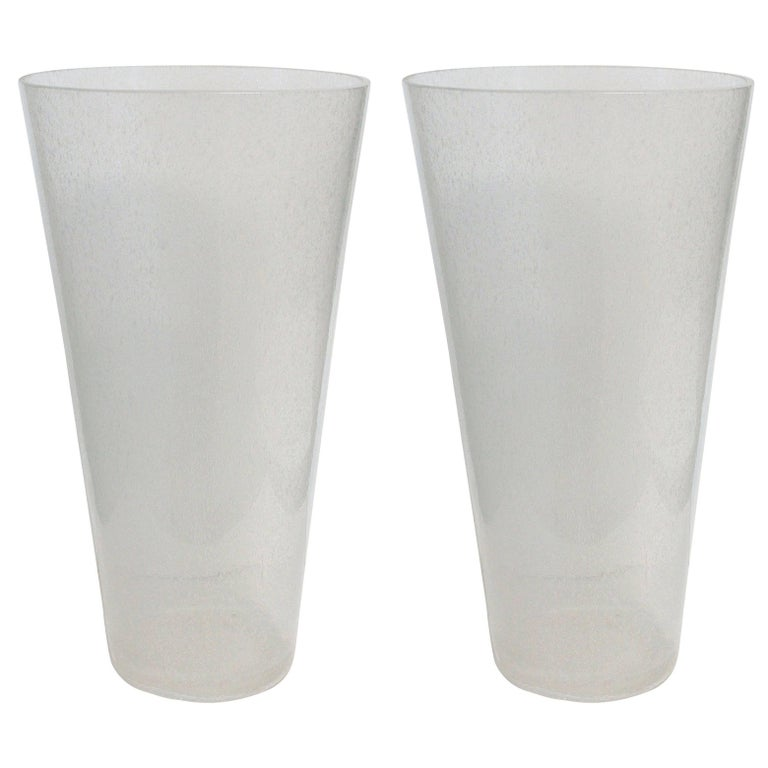 Pair of Oversized Italian Clear Bollicine Murano Glass Vases
