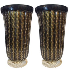 Pair of Murano Black and Gold Pulegoso Vases by Pino Signoretto