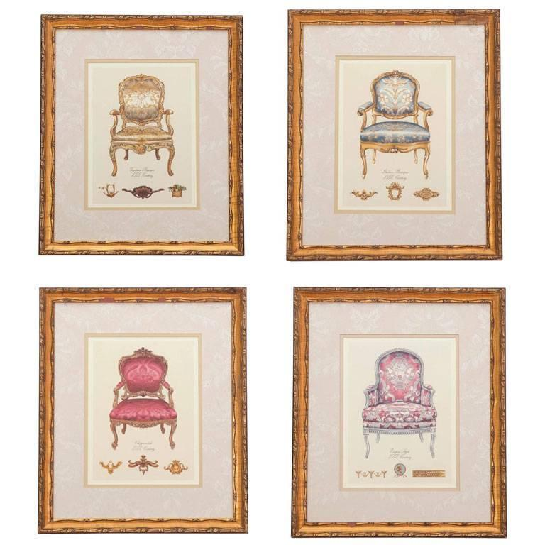 19th Century French Chair Paintings, Set of Four