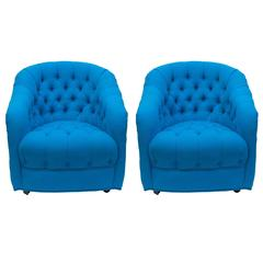 Tufted Swivel Side Chairs in Turquoise Wool, Pair