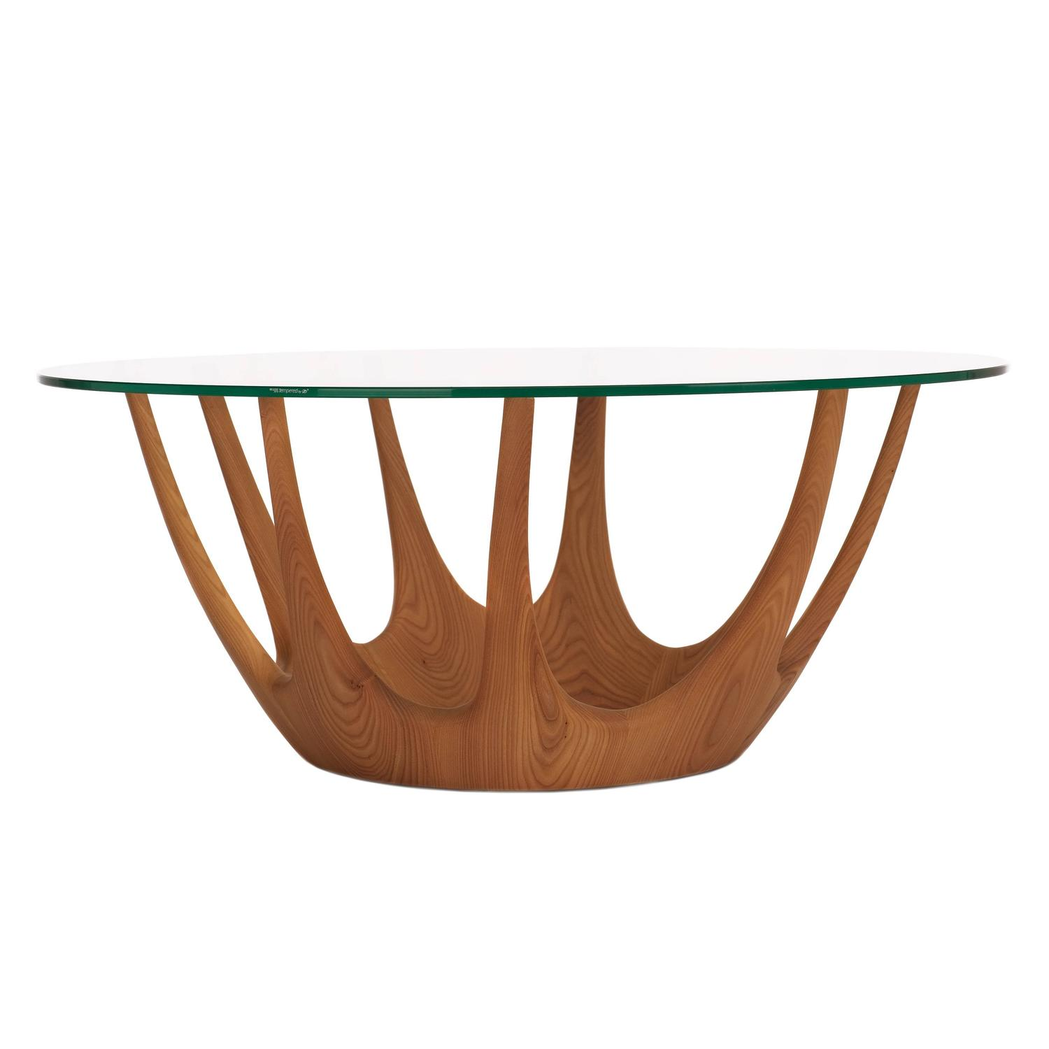Mid-Century Modern Italian Ash Timber And Glass Round