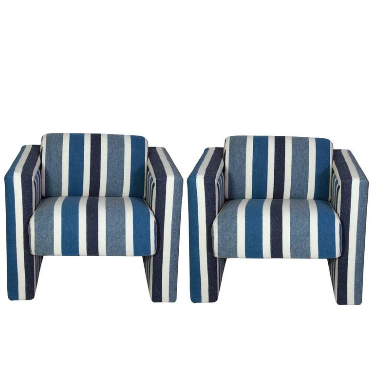 Nautical Club Chairs In Blue And White Wool, Pair