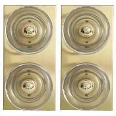 Sciolari Brass and Glass Sconces