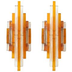 Poliarte Amber and Clear Stacked Glass Sconces