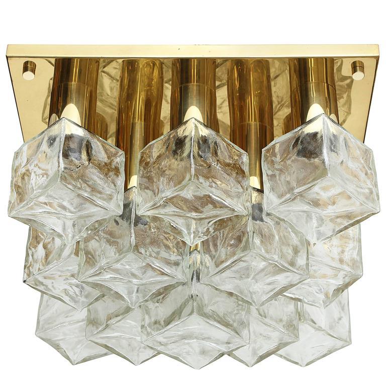 Kalmar Brass and Glass Ice Cube Flush Mount