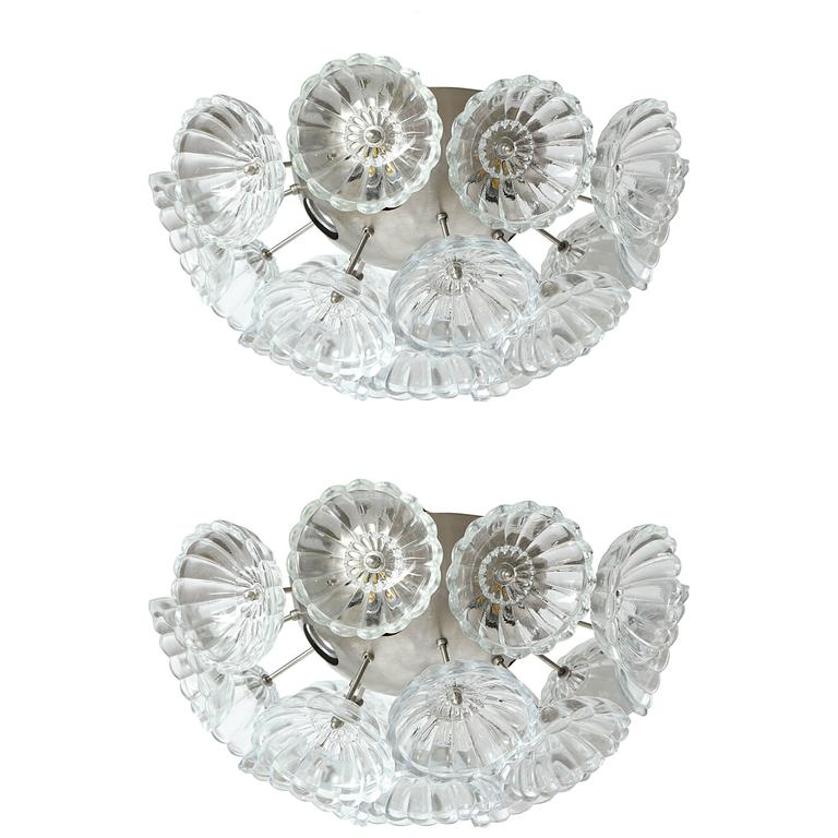 Flower Glass Sputnik Flush Mounts, Sconces For Sale