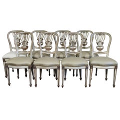 Set of Eight 19c Gilded and Carved Chairs with Original Patina