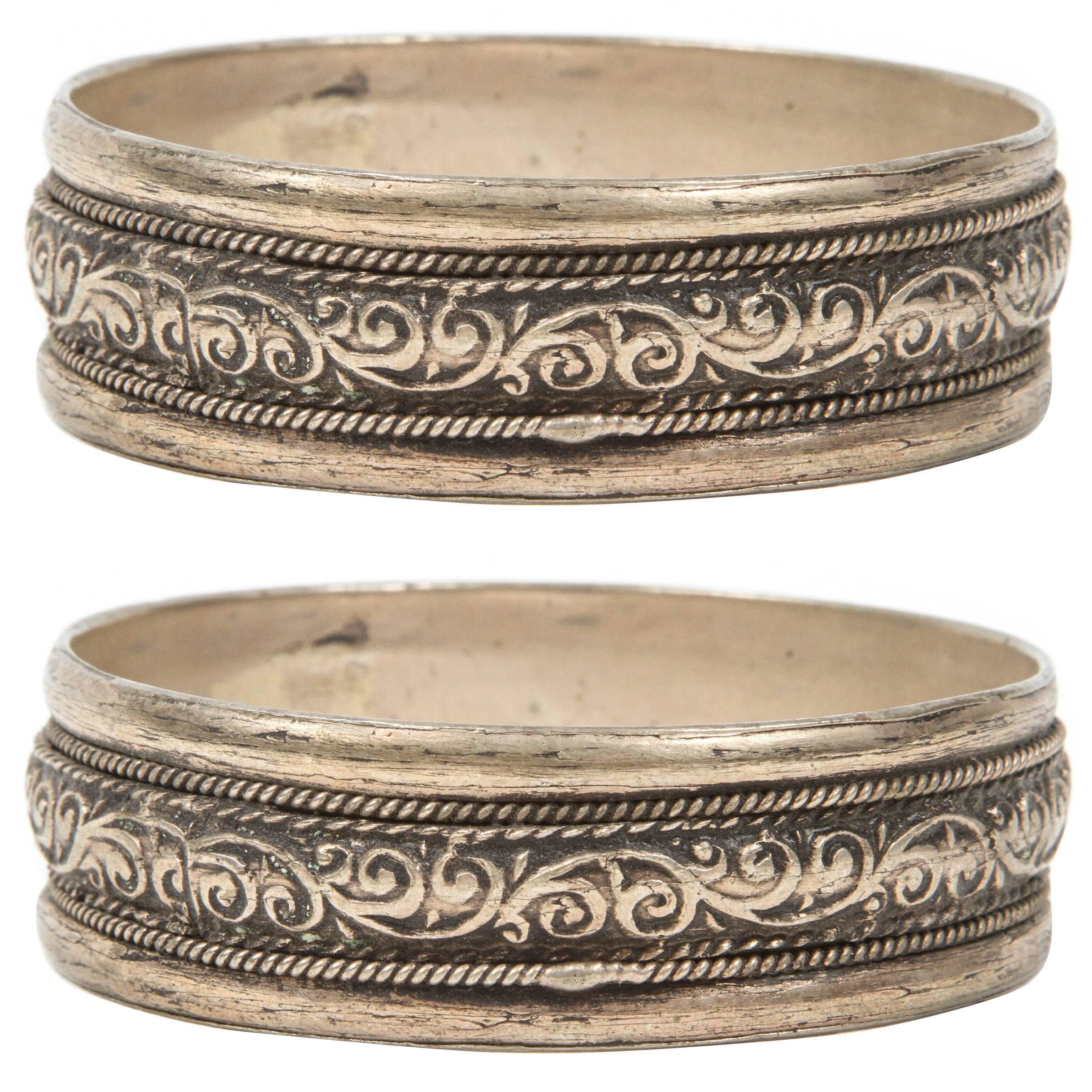Pair of Moroccan Berber Tribal Silver Bracelets