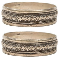 Pair of Moroccan Berber Tribal Silver Bracelets