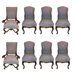 Wonderful Set Eight Formal Carved Upholstered Louis XV Dining Room Chairs Nails