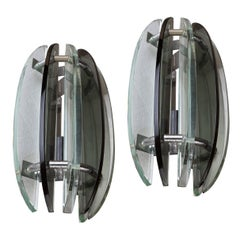 Rare Pair of Mid-Century Modern Glass Sconces with Chrome Details, European