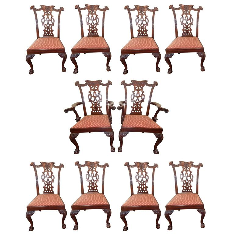 Chippendale Mahogany Dining Room Chairs: Set Of Ten Carved Mahogany Chippendale Style Dining Chairs