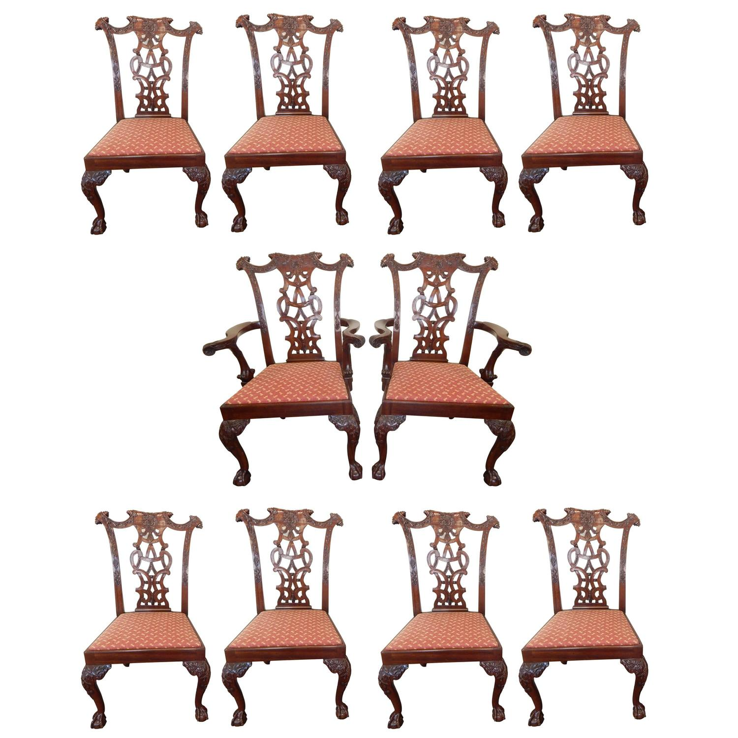 Set of ten carved mahogany chippendale style dining chairs for Furniture high wycombe