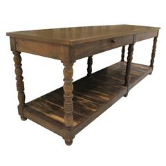 French Walnut Draper's Table or Console Table, 19th Century Antique