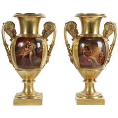 Pair of Polychrome and Gilt Paris Porcelain, circa 1820, France